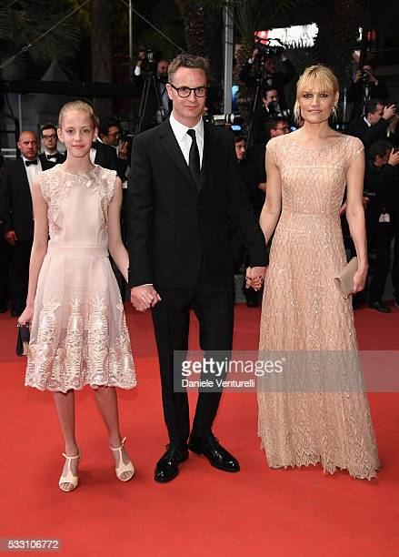 """Director Nicolas Winding Refn his wife, actress Liv Corfixen and their daughter Lola Winding Refn attend the """"Neon Demon"""" premiere during the 69th..."""