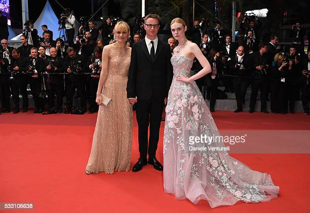 """Director Nicolas Winding Refn , Liv Corfixen and actress Elle Fanning attend """"The Neon Demon"""" Premiere during the 69th annual Cannes Film Festival at..."""