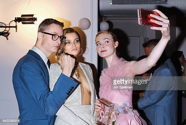 Director Nicolas Winding Refn model/actress Abbey Lee and actress Elle Fanning attend 'The Neon Demon' New York premiere at Metrograph on June 22...