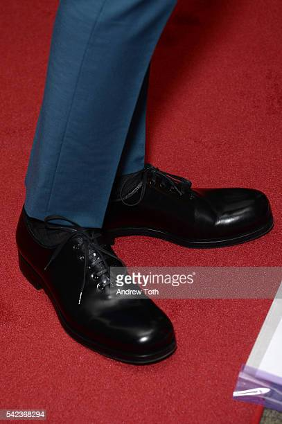 Director Nicolas Winding Refn shoe detail attends the 'The Neon Demon' New York premiere at Metrograph on June 22 2016 in New York City