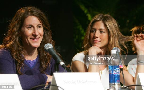 Director Nicole Holofcener and actress Jennifer Aniston attend the Friends with Money Press Conference at the Kimball Art Center during the 2006...