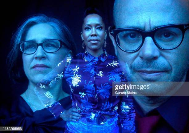 Director Nicole Kassell actress Regina King and writer Damon Lindelof from 'Watchmen' are photographed for Los Angeles Times on October 15 2019 in...