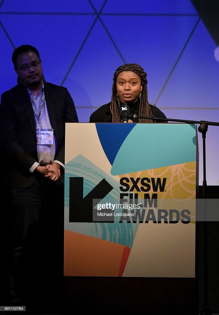 Director Nijla Mu'min accepts the Narrative Feature award for 'Jinn' at the SXSW Film Awards show during the 2018 SXSW Conference and Festivals at Paramount Theatre on March 13, 2018 in Austin, Texas.