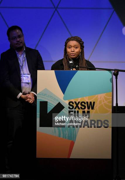 Director Nijla Mu'min accepts the Narrative Feature award for 'Jinn' at the SXSW Film Awards show during the 2018 SXSW Conference and Festivals at...
