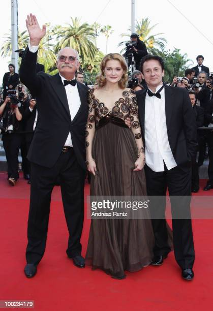 Director Nikita Mikhalkov actress Nadezhda Mihalkova and actor Oleg Menshikov attend the The Exodus Burnt By The Sun Premiere at the Palais des...