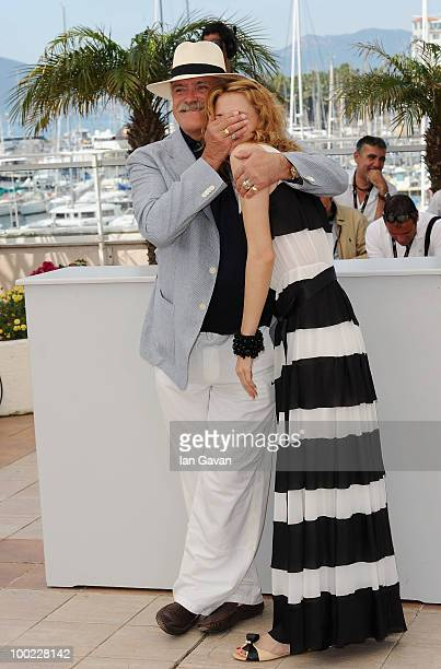 Director Nikita Mikhalkov and actress Nadezhda Mihalkova attend the 'The Exodus Burnt By The Sun' photocall at the Palais des Festivals during the...