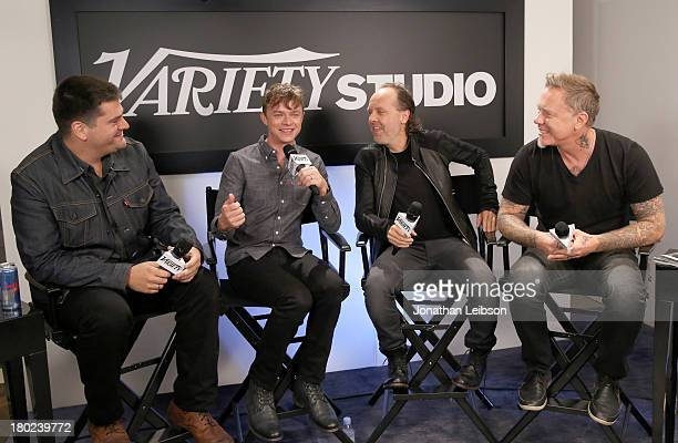 Director Nimrod Antal actor Dane DeHaan musicians Lars Ulrich and James Hetfield attend the Variety Studio presented by Moroccanoil at Holt Renfrew...