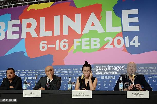 Director Ning Hao actor Xu Zheng actress Yu Nan and host Anatol Weber attend 'No Man's Land' press conference during 64th Berlinale International...
