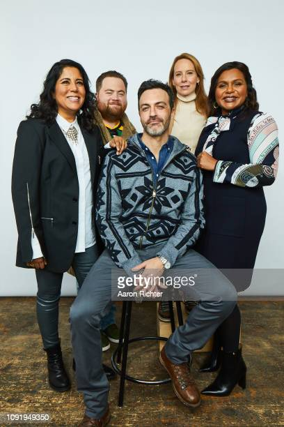 Director Nisha Ganatra Paul Walter Hauser Reid Scott Amy Ryan and Mindy Kaling from 'Late Night' pose for a portrait in the Pizza Hut Lounge in Park...