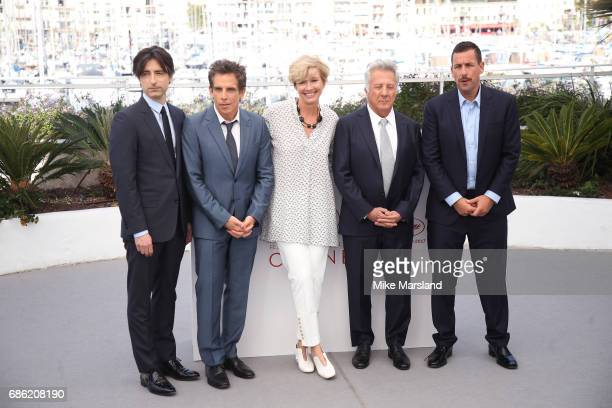 Director Noah Baumbach actors Ben Stiller Emma Thompson Dustin Hoffman and Adam Sandler attend the 'The Meyerowitz Stories' photocall during the 70th...