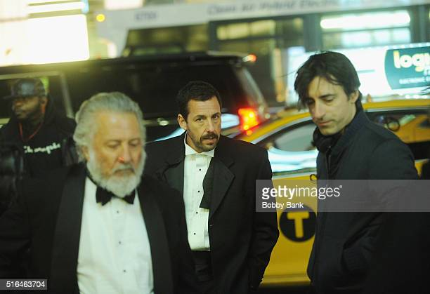 Director Noah Baumbach Dustin Hoffman and Adam Sandler on the set of director Noah Baumbach's 'Yah Din Ka Kissa' on March 18 2016 in New York City