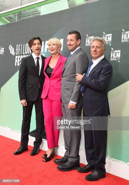 Director Noah Baumbach Emma Thompson Adam Sandler and Dustin Hoffman attend the Laugh Gala UK Premiere of 'The Meyerowitz Stories' during the 61st...