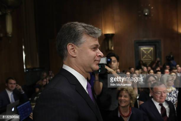 FBI director nominee Christopher Wray arrives at his confirmation hearing before the Senate Judiciary Committee July 12 2017 on Capitol Hill in...