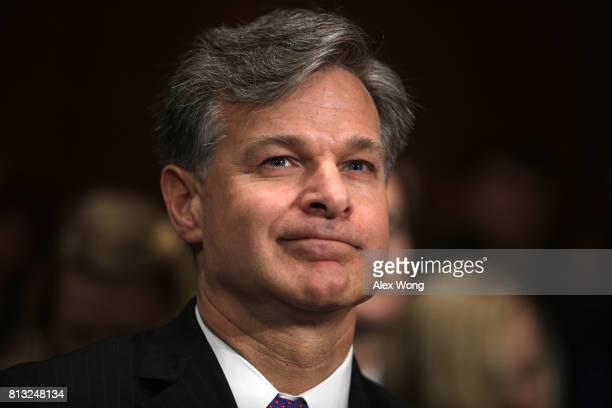 FBI director nominee Christopher Wray prepares to testify during his confirmation hearing before the Senate Judiciary Committee July 12 2017 on...