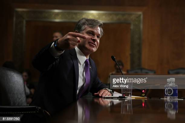 Director nominee Christopher Wray testifies during his confirmation hearing before the Senate Judiciary Committee July 12 2017 on Capitol Hill in...