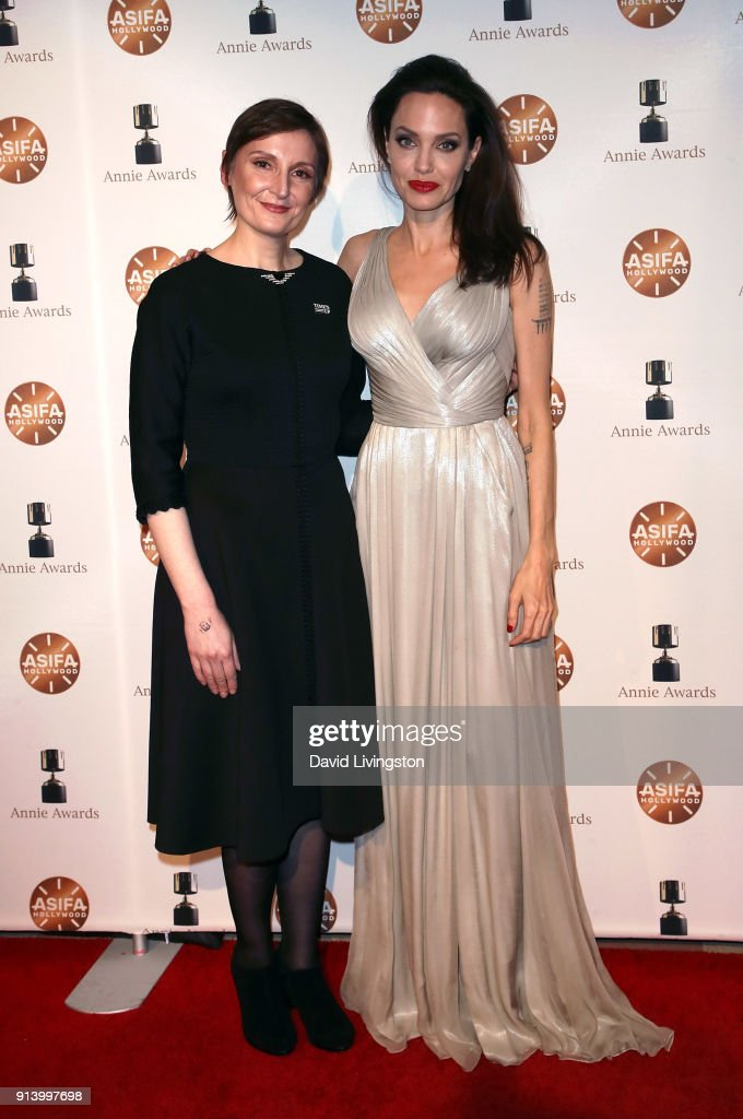 Director Nora Twomey (L) and actress Angelina Jolie attends the 45th Annual Annie Awards at Royce Hall on February 3, 2018 in Los Angeles, California.