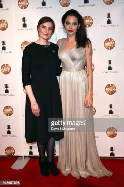 Director Nora Twomey and actress Angelina Jolie attends the 45th Annual Annie Awards at Royce Hall on February 3 2018 in Los Angeles California