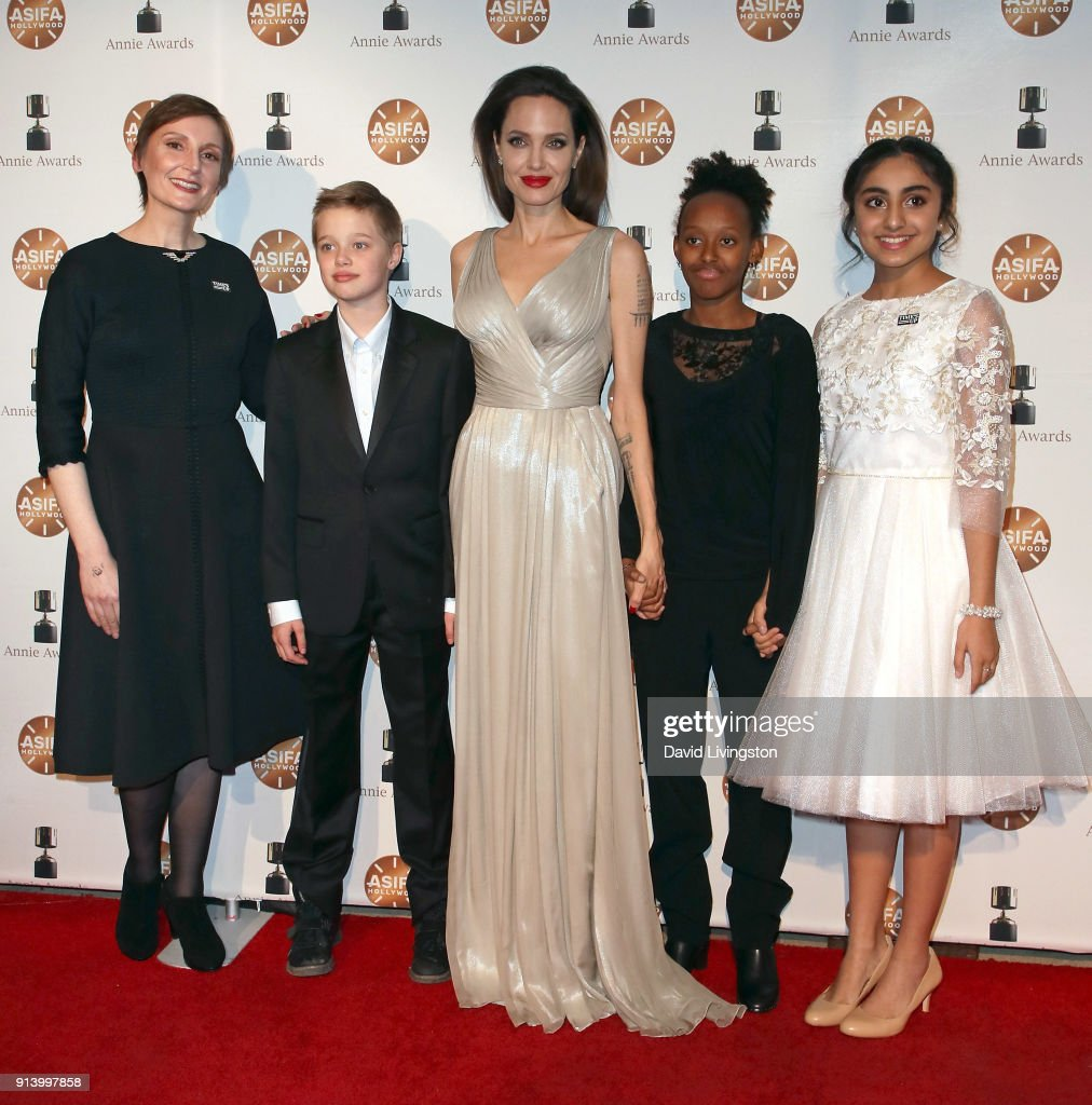 Director Nora Twomey, Shiloh Nouvel Jolie-Pitt, actress Angelina Jolie, Zahara Marley Jolie-Pitt and actress Saara Chaudry attend the 45th Annual Annie Awards at Royce Hall on February 3, 2018 in Los Angeles, California.