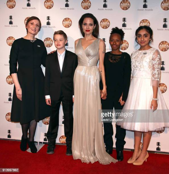 Director Nora Twomey Shiloh Nouvel JoliePitt actress Angelina Jolie Zahara Marley JoliePitt and actress Saara Chaudry attend the 45th Annual Annie...