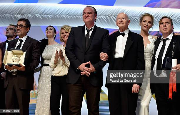 Director Nuri Bilge Ceylan with his Palme d'Or Paz Vega Nicole Garcia Director Quentin Tarantino President of the Cannes Film Festival Gilles Jacob...