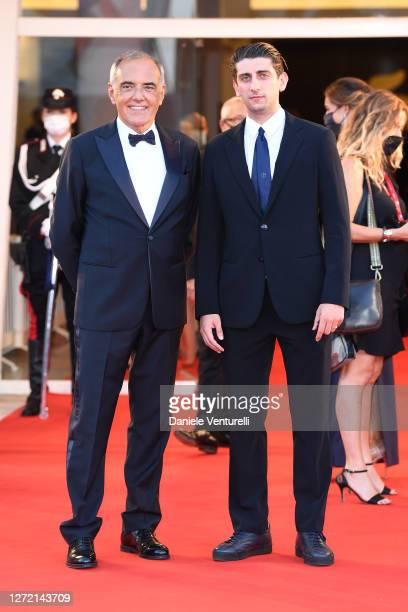 Director of 77 Mostra Internazionale d'Arte Cinematografica Alberto Barbera and Pietro Castellitto walk the red carpet ahead of closing ceremony at...