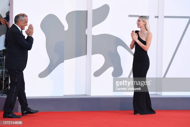Director of 77 Mostra Internazionale d'Arte Cinematografica Alberto Barbera and Vanessa Kirby walk the red carpet ahead of closing ceremony at the...