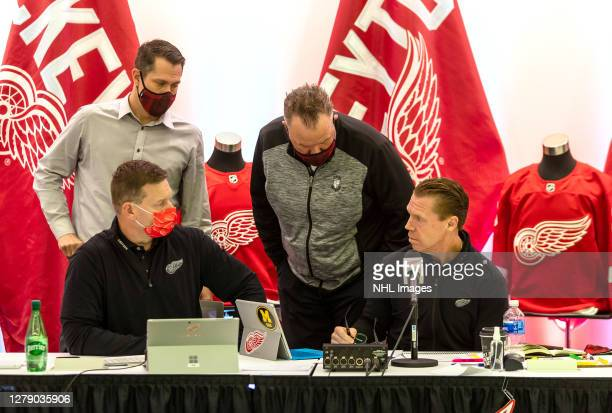 Director of Amateur Scouting Kris Draper with Chief Amateur Scout Ryan Rezmierski , Chief Amateur Scout Jesse Wallin and, Head of Goaltending...