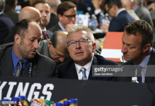 Director of Amateur Scouting Mark Yannetti assistant general manager Mike Futa and general manager Rob Blake of the Los Angeles Kings attend the 2017...