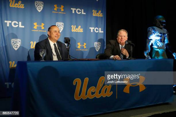 Director of Athletics Dan Guerrero and the new UCLA Football Head Coach Chip Kelly during a press conference on November 27, 2017 in Westwood,...