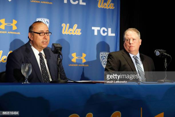 Director of Athletics Dan Guerrero speaks to the media as he introduces Chip Kelly as the new UCLA Football head coach during a press conference on...
