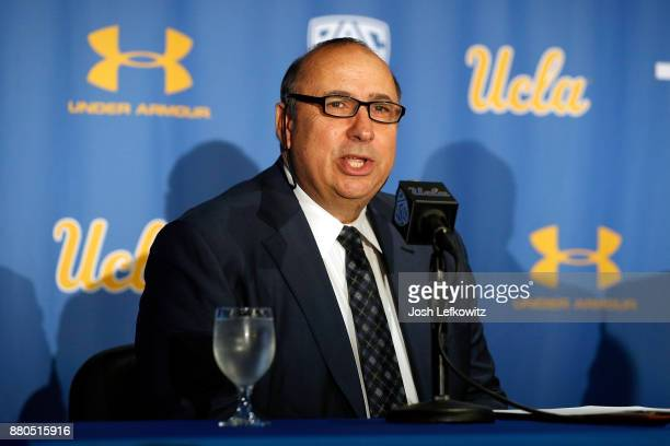 Director of Athletics Dan Guerrero speaks to the media introducing Chip Kelly as the new UCLA Football head coach during a press conference on...