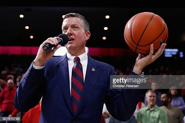 Director of Athletics Greg Byrne of the Arizona Wildcats following the college basketball game against the Oregon State Beavers at McKale Center on...