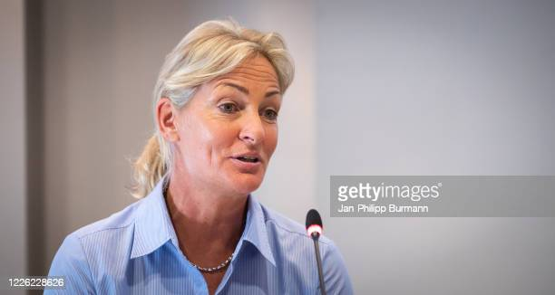 Director of bett1ACES Barbara Rittner during the press conference at Crowne Plaza Berlin on July 11, 2020 in Berlin, Germany.
