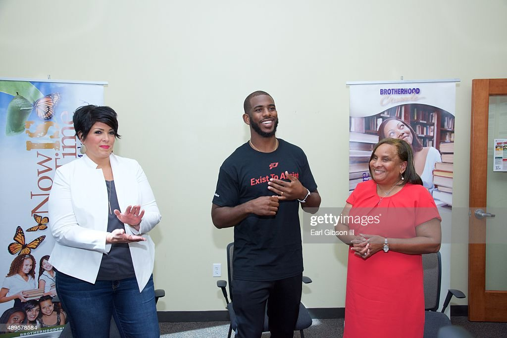 Director of Brand Content Patty Morris, NBA Player Chris Paul and President/CEO of Brotherhood Crusade Charisse Bremond Weaver speak at the Chris Paul Family Foundation's 'Exist to Assist' Community Program Launch at Brotherhood Crusade on September 22, 2015 in Los Angeles, California.