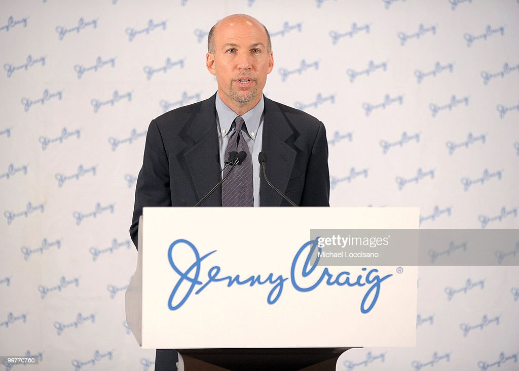 Director of Branding and Advertising for Jenny Craig, Steve Bellach addresses the press during Jenny Craig client Jason Alexander's 30-pound weight loss debut press conference at The Pierre Hotel on May 17, 2010 in New York City.