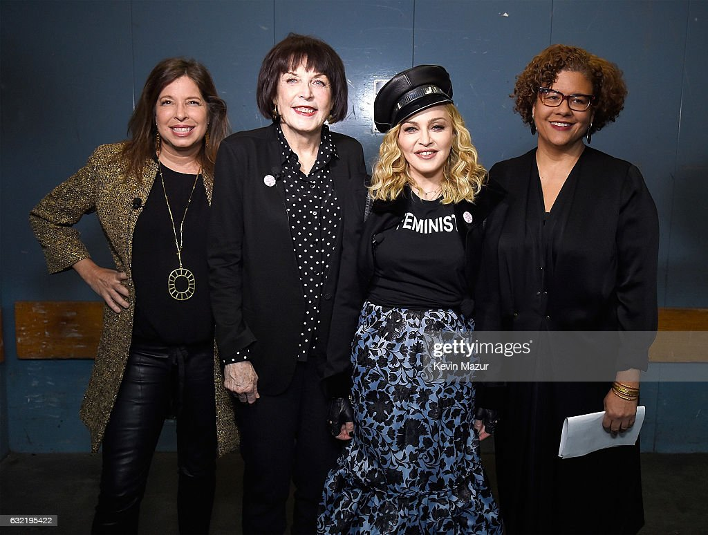 Director of Brooklyn Museum Anne Pasternak, Marilyn Minter, Madonna and Elizabeth Alexander pose backstage at Brooklyn Museum on January 19, 2017 in New York City.