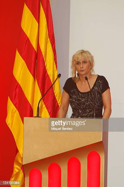 Director of Catalan TV3 Monica Terribas speaks at the gold medal ceremony honouring Pep Guardiola as recognition for his career and his contribution...