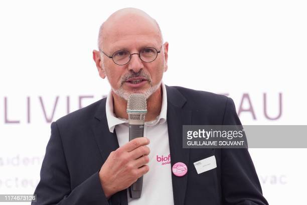 Director of Cavac biomaterials Olivier Jadeau gives a speech inside the Cavac's plant on September 27 2019 in SaintGemmelaPlaine near Niort Western...