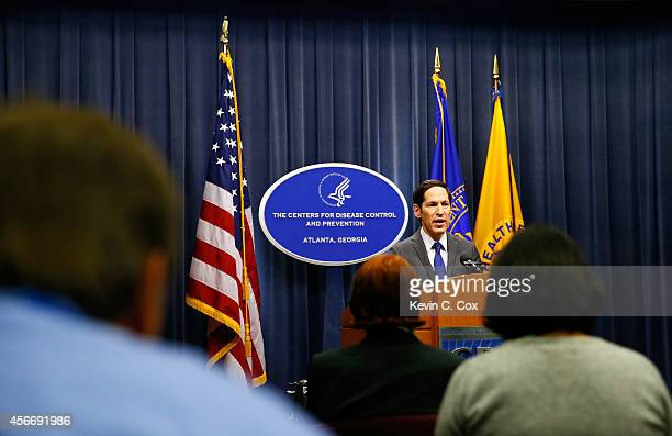Director of Centers for Disease Control and Prevention Tom Frieden addresses the media on the Ebola case in the US at the Tom Harkin Global...