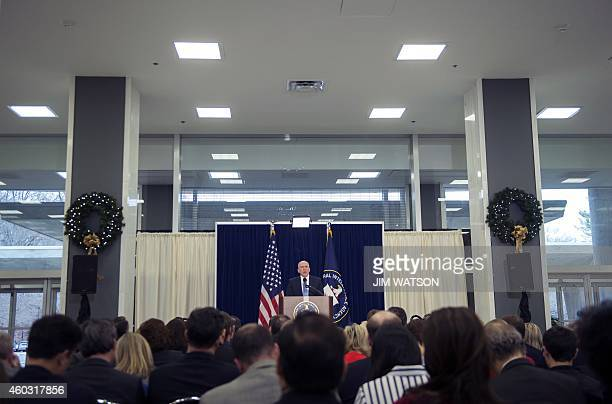 Director of Central Intelligence Agency John Brennan speaks during a press conference at CIA headquarters in Langley Virginia December 11 2014 The...