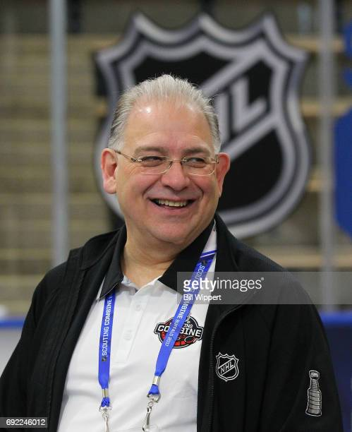 Director of Central Scouting Dan Marr talks to prospects during the NHL Combine at HarborCenter on June 3 2017 in Buffalo New York