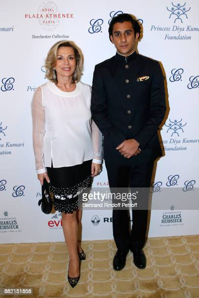 Director of Communication at Plaza Athenee Hotel, Isabelle Maurin and HRH the Maharaja Sawai Padmanabh Singh of jaipur attend the Charity Gala to...