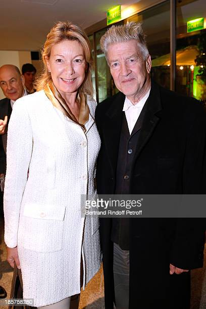 Director of Communications Cartier Christine Borgoltz and David Lynch attend the 'Ron Mueck' Exhibition Closing Night at 'Fondation Cartier pour...