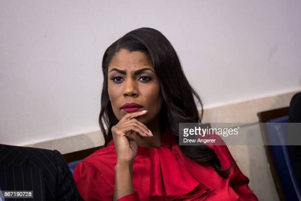 Director of Communications for the White House Public Liaison Office Omarosa Manigault listens during the daily press briefing at the White House...