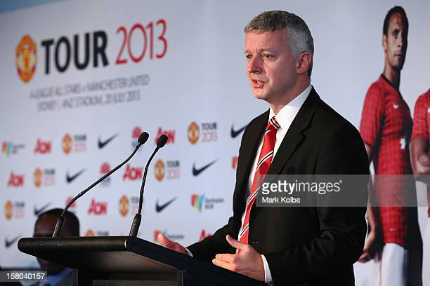 Director of Communications from Manchester United Phil Townsend speaks to the media during a press conference at Museum of Contemporary Art on...