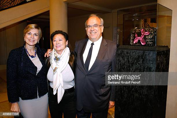 Director of Communications of Hotel Plaza Athenee Isabelle morin Mayor of 8th District of Paris Jeanne D'hauteserre and Professor David Khayat are...