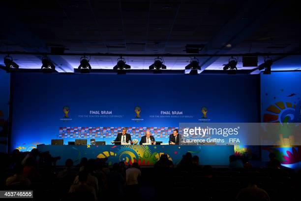 FIFA Director of Communications Walter de Gregorio FIFA President Joseph S Blatter and FIFA Secretary General Jerome Valcke attend the FIFA Executive...
