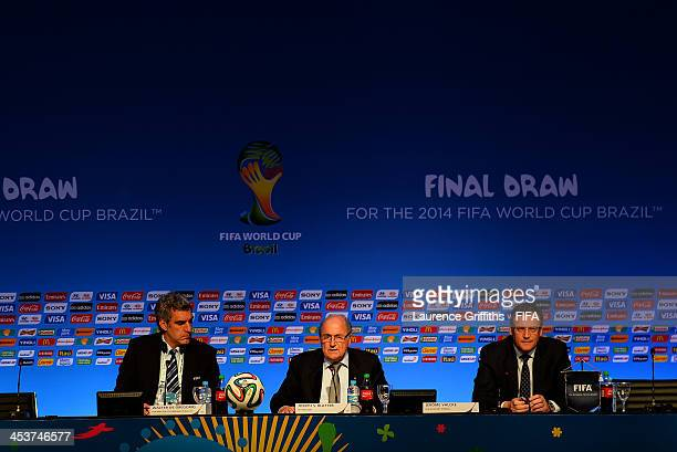 FIFA Director of Communications Walter de Gregorio FIFA President Joseph S Blatter and FIFA Secretary General Jerome Valcke attend the FIFA Executive...