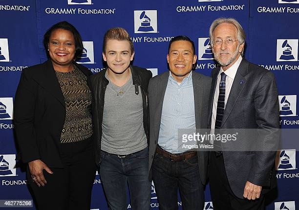 Director of Community Development for the Ford Motor Company Fund Pamela Alexander singer Hunter Hayes Music Educator Award recipient Jared Cassedy...