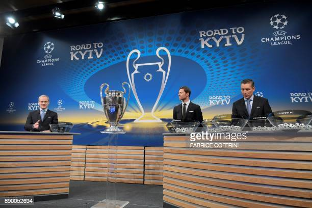 UEFA director of competitions Giorgio Marchetti Spanish former international Xabi Alonso and UEFA head of club competitions Michael Heselschwerdt...